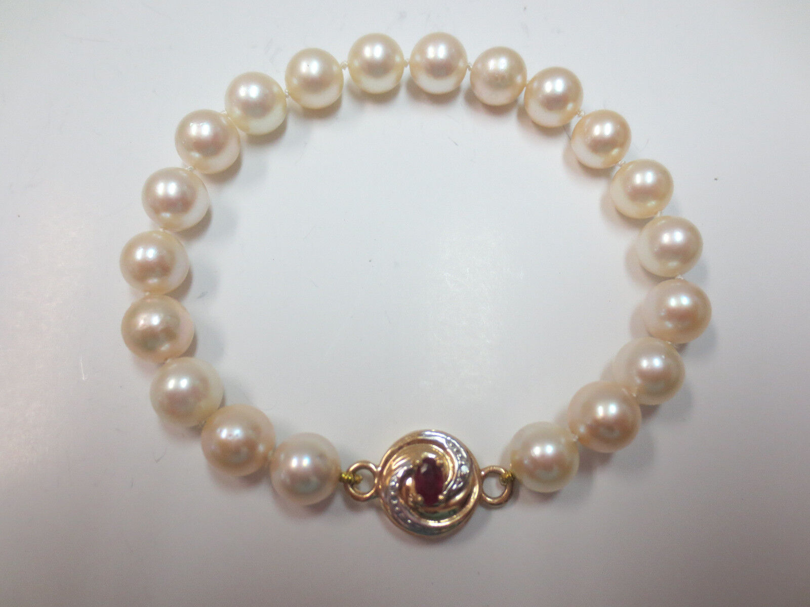 You're Almost Done Vtg Lustrous Cultured Pearl Bracelet 14k Ruby