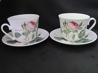 Rose Breakfast Cup - PAIR of REDOUTE ROSE BREAKFAST CUP SAUCER, Made England  ROY KIRKHAM, Fine Bone
