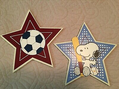 Baby Sports Wall Hanging - Baby Snoopy Peanuts Sports Wall Wood Nursery Plaques Stars Soccer Baseball