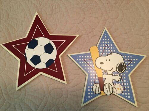 Baby Snoopy Peanuts Sports Wall Wood Nursery Plaques Stars Soccer Baseball
