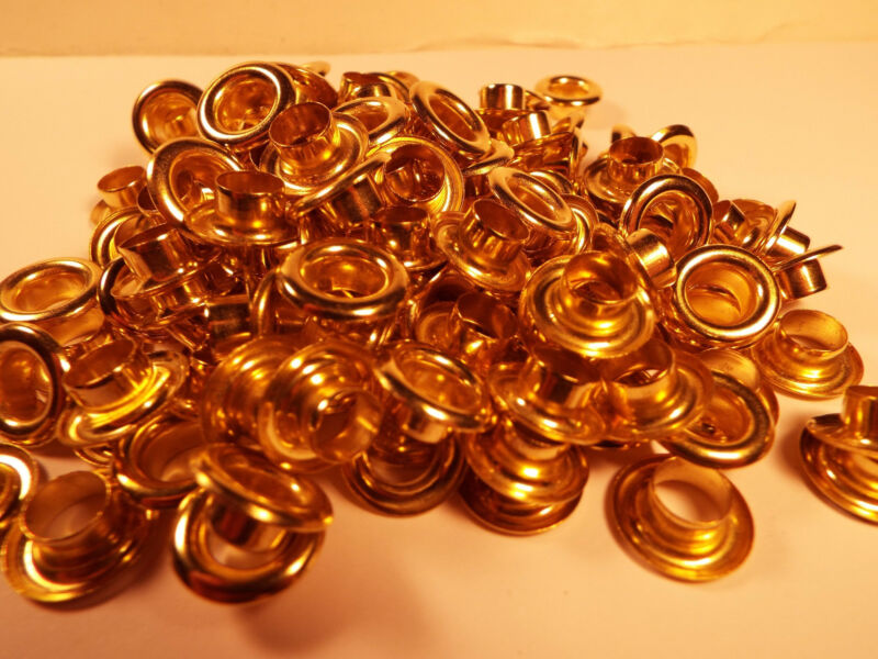 """LOT OF 144 1-GROSS BRASS EYELETS 5/16"""" ID. SCRAP BOOKING, LEATHER CRAFT & ETC"""