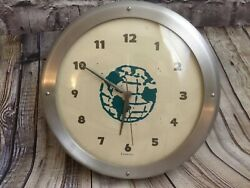 Vintage Fox Klox Brushed Aluminum Glass Wall Clock with Blue Globe Print Art '96