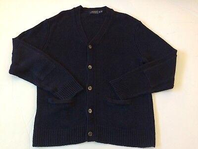 Polo Ralph Lauren Mens V-Neck Italian Yarn Cardigan Navy Blue XL Elbow Patches