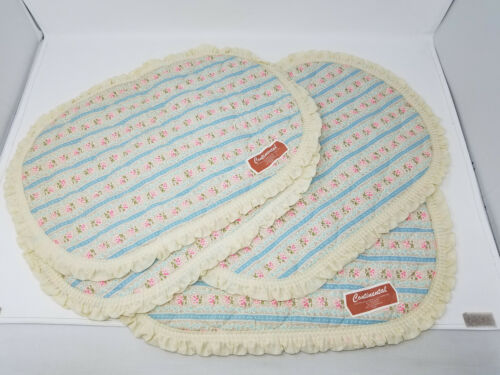 Vintage Set of 4 Continental Cream Oval Quilted Placemats Floral Ruffle Edge NOS