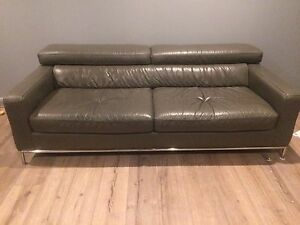 Genuine leather grey lounge / couch / sofa Mount Colah Hornsby Area Preview