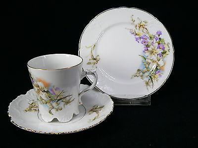 Edles Jugendstil Kaffeegedeck 3tlg. mit schönem Blumendekor / gestempelt