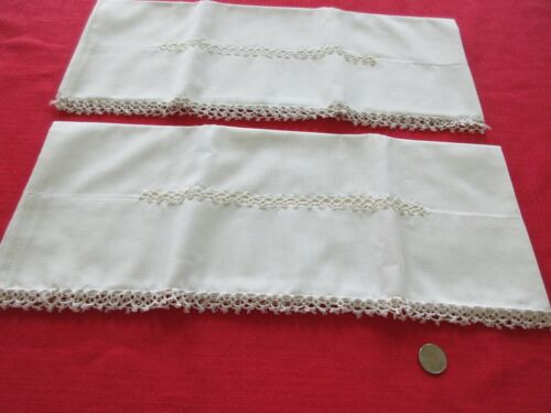 ANTIQUE PILLOW CASES STANDARD SIZE PRISTINE WHITE ON WHITE w TATTED EDGING MINTY