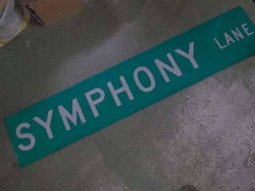 "LARGE Original SYMPHONY LANE Street Sign 60"" X 12"" White on Green"