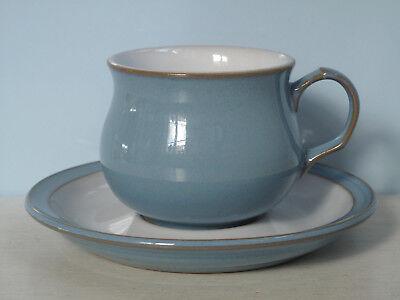 Azure Blau Keramik (Denby Azure Blau Tea /Coffee Cup + Saucer Kaffeetasse mit Untertasse England)