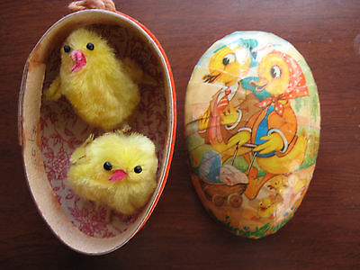 Vintage EASTER EGG Paper Mache w/ 2 Baby Chicks made in West Germany