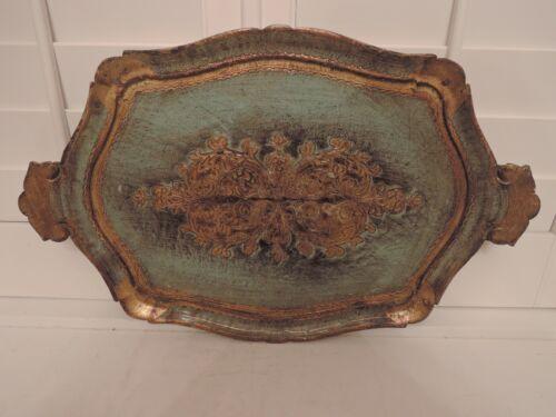 "Huge Italian Florentine Wooden Handled Tray Platter Turquoise Gold Green 24"""