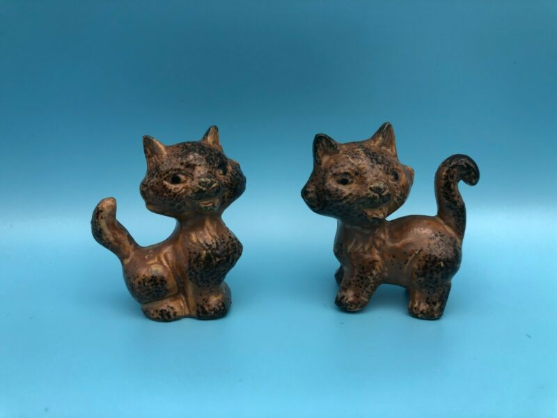 Set of 2 MCM Tiny Brown Ceramic Cats Kittens Figurines Made in Japan