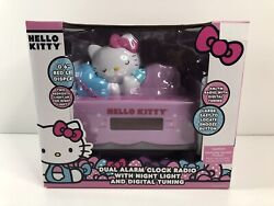 Hello Kitty Dual Alarm Clock Radio With Night Light And Digital Tuning Brand New