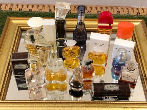 LOT Vge MINIATURE Perfume, Eau de Perfume Bottles Chanel Glass Stopper Halston