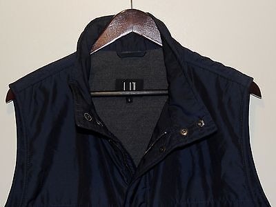 Dunhill Full Zip Navy Blue Poly Cotton Silk Blend Vest made in Italy Slim Fit L