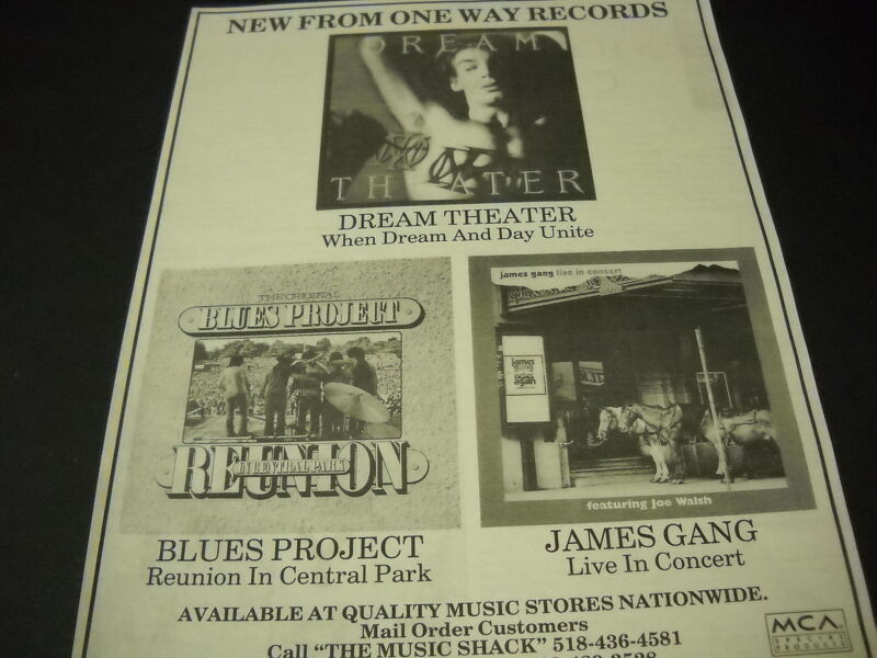 DREAM THEATER Blues Project and JAMES GANG 1996 Promo Poster Ad mint condition