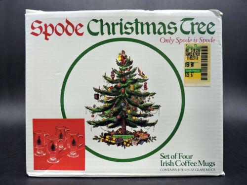 Spode Christmas Tree Irish Coffee Mugs Set of 4 in Box (New Old Stock)