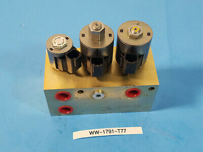 New Hydraulic Manifold 456-1824-00 With 3 Hydraforce Solenoid Valves