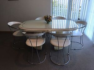 White dining table with 6 chairs Chatswood West Willoughby Area Preview