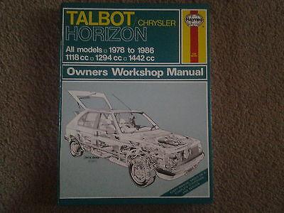 Talbot Chrysler Horizon Haynes Owners Manual All Models 1978 to 1986