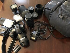 Olympus E-30 camera with accessories
