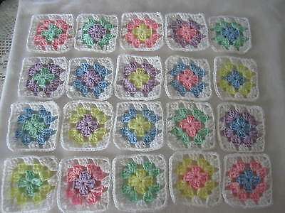 "20-4"" GRANNY SQUARES BLOCKS 4 AFGHAN, AFGHANS *ASSORTED PASTEL COLORS"