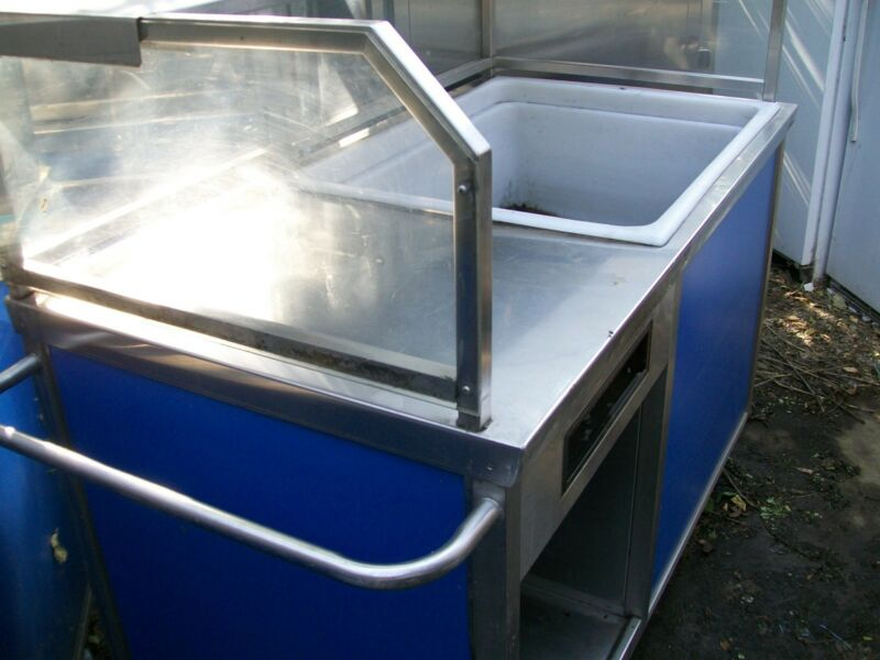 BAR ON WHEELS, ICE TAINER, ETC, ON CASTERS, SNEEZE GUARD, 900 ITEMS ON E BAY