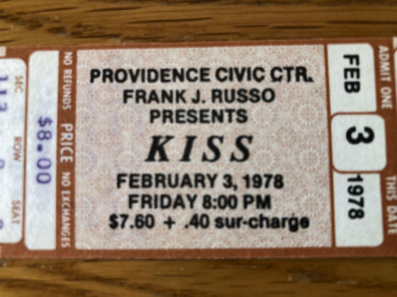 KISS 1978 RARE Unused Concert Ticket Last US Show ALIVE II Tour 2-3-1978 Prov RI