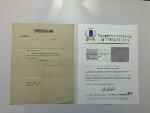 President Theodore Roosevelt Autographed Signed Typed Letter BAS BECKETT LOA