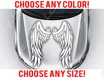 Angel Wings Car Mirrored Feather Hood Decal Vinyl Sticker Custom Any Size (Mirrored Angel Wings)