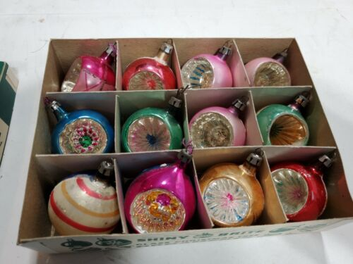 12 Vintage Pointy Poland Glass Christmas Ornaments--Mica, Glitter, Indents