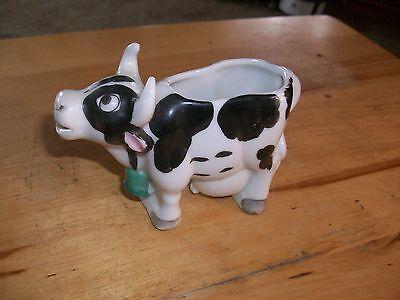 "vintage Porcelain Ceramic Holstein Milk Cow Creamer 4 1/4""long"