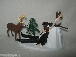 Wedding Party Redneck Deer Hunter Hunting Cake Topper ~Dark Hair on Both~