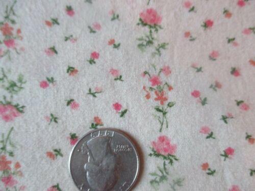 Vintage PINK FLOWERS In STRIPES On BEIGE 1970