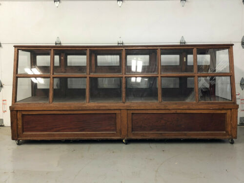 Antique Wood General Drug Store Glass Display Case Cabinet 16 Doors