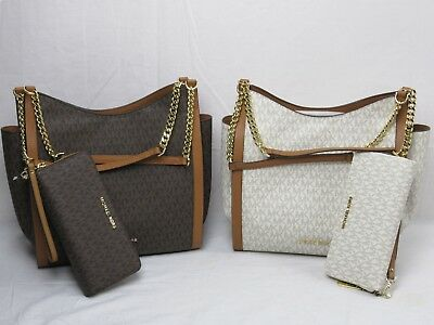 Michael Kors Newbury MD Chain Tote Brown Or Vanilla Bag + Continental Wallet