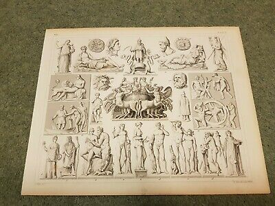 1849 Georg Heck Original Antique Print- Statues, Greek Mythology,Centaurs,Satyrs