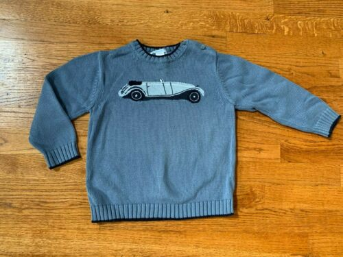 Janie and Jack Blue Vintage Car Automobile Crewneck Pullover Sweater Size 4