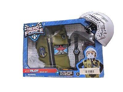 Hero Force Jet Pilot Deluxe Outfit Set Toy for Kids Costume Helmet Vest Top Gun