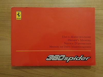 Ferrari 360 Spider Owners Handbook/Manual