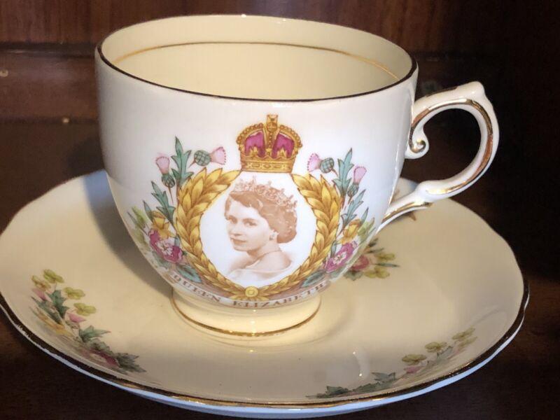 QUEEN ELIZABETH II H.M. Coronation Cup & Saucer Tuscan 1953.