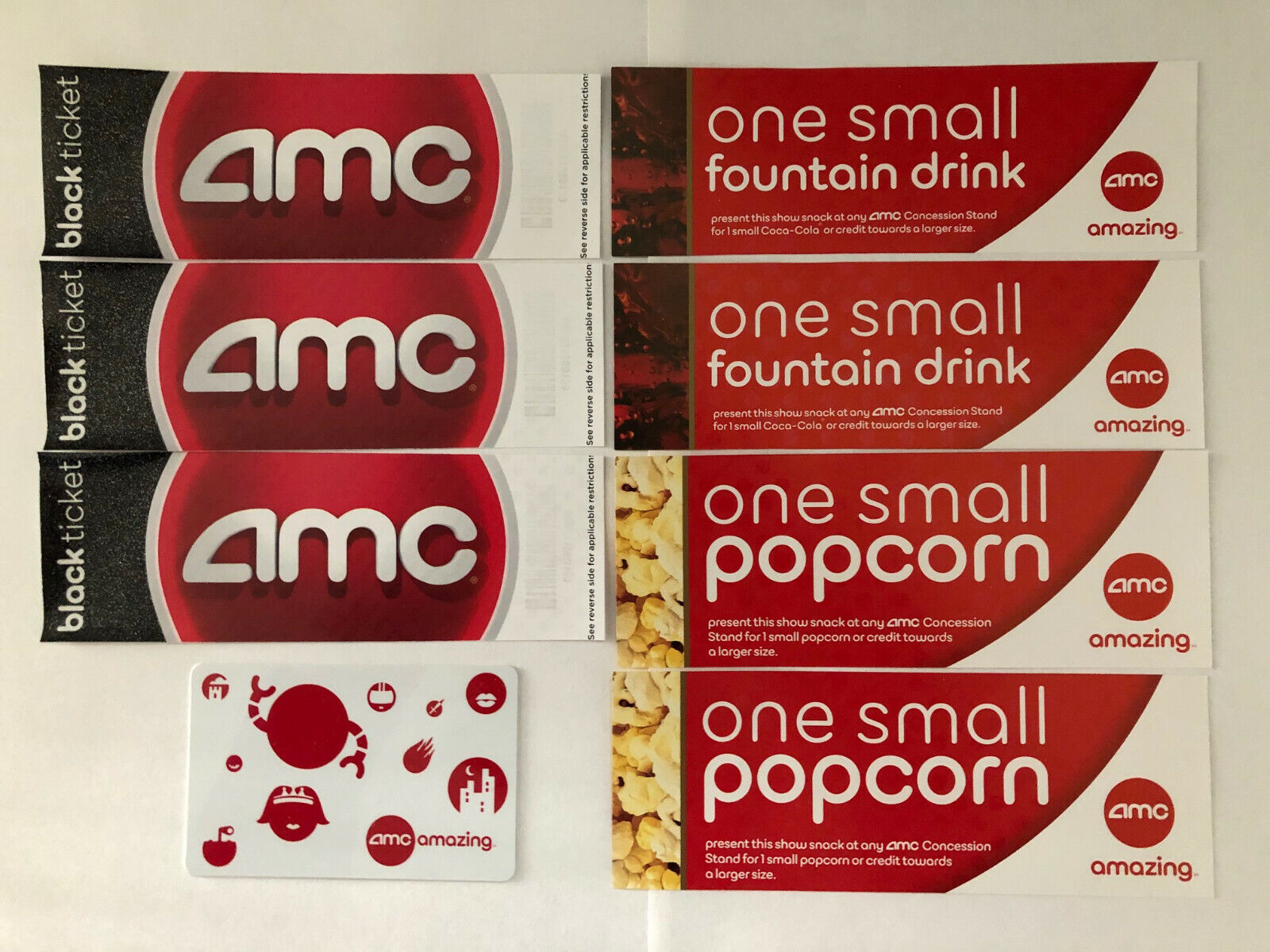 3 AMC Theater Black Movie Tickets With 2 Drinks, 2 Popcorns, One 5 Gift Card - $25.00