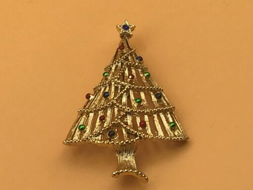 Vintage Christmas Tree Pin Brooch Signed Gerry