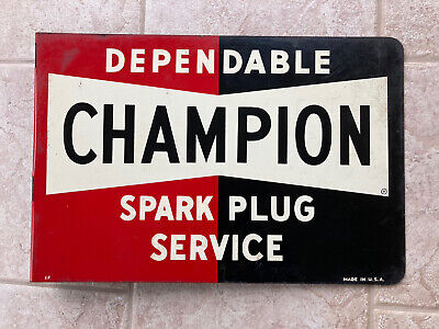 Vintage CHAMPION Spark Plug FLANGE SIGN Decor Man Cave Automotive