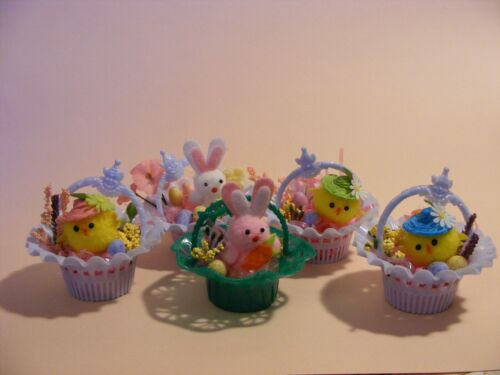 Vintage Easter nutcup arrangements bunnies chicks