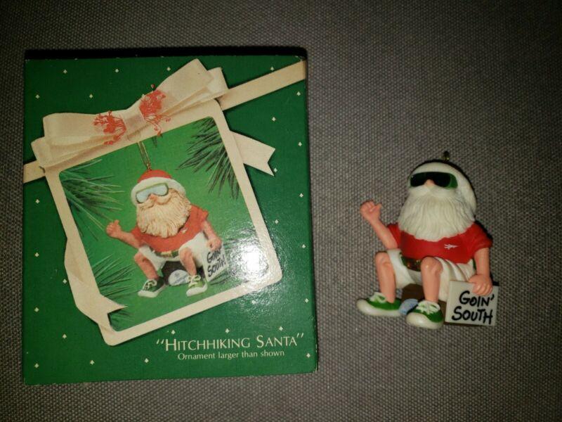 Vintage Hallmark Ornament - Hitchhiking Santa