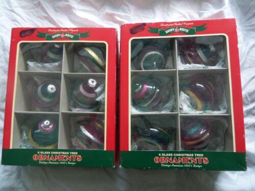 Christopher Radko Shiny Brite 12 Glass Christmas Ornaments 40