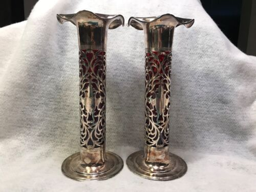 Pair of Art Nouveau Pierced Silverplate Column Vases Cranberry Glass Inserts