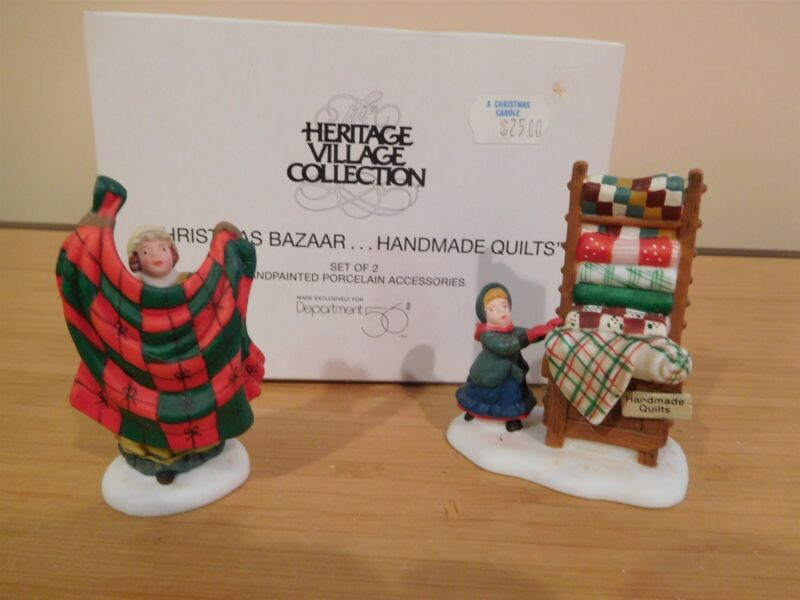 Dept 56 New England Village - Christmas Bazaar Handmade Quilts - Free Shipping