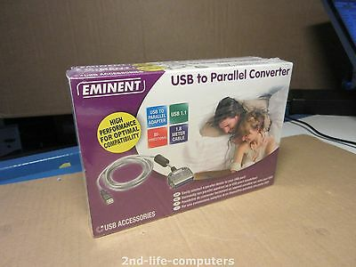 Eminent EM1018 USB t Parallel Adapter Kabel Converter Cable 1,8m Plug & Play NEW